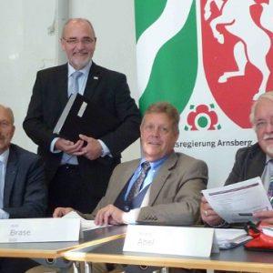 v.l.: Ottmar Haardt, Gerd Bollermann, Willi Brase, Roland Abel